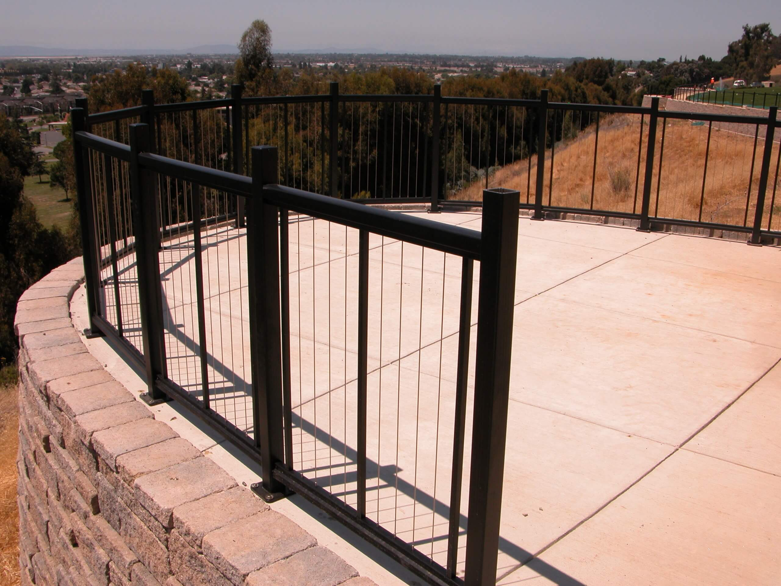 Cable railing system installed around a curved viewing area in the San Francisco Bay Area