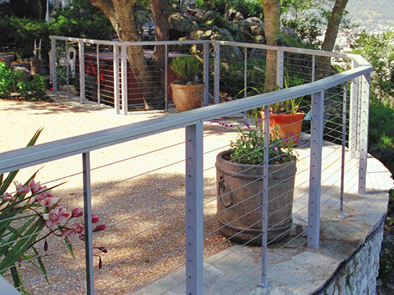 cable railing installed in a backyard