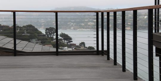 matte black railing for townhouse terrace