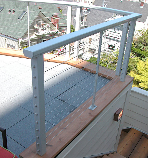 rooftop cable railing installed