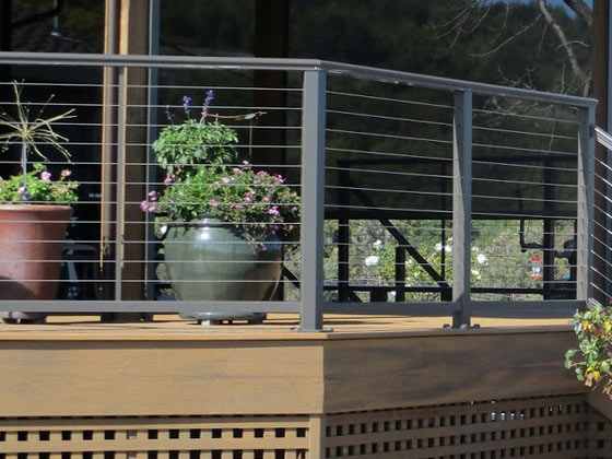 our team used marine-grade cable for this railing installation