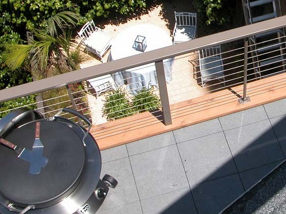 cable railing installed on terrace