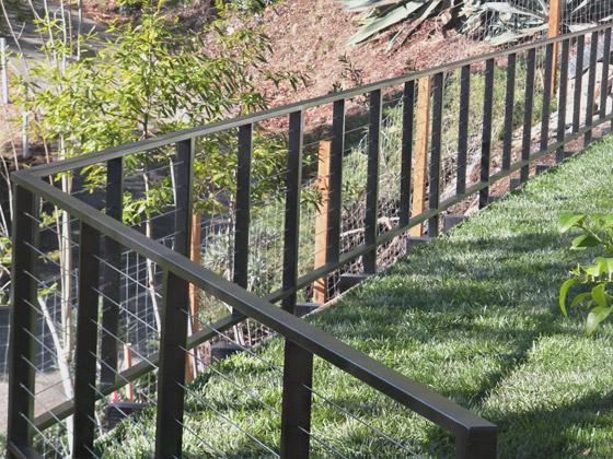 aluminum railing system with matte black finish installed in Dublin, California