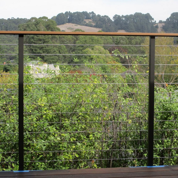 steel railing system with wood toprail installed in Dublin hills